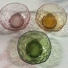"Set of 3 Seneca Morgantown Driftwood 5"" Bowls Amber Green Pink NEW Old Stock!"