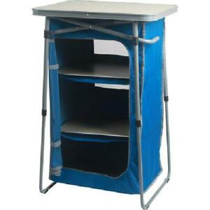 Ozark Trail 3-Shelf Collapsible Cabinet with Table Top, Blue Camping Outdoors