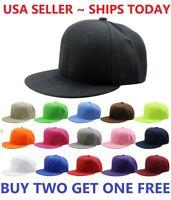 Snapback Hat Classic Hip Hop Style Visor Flat Baseball Cap Solid Blank Hats New