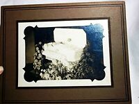 POST MORTEM PHOTO OF BABY IN WHITE CASKET W/ FLOWERS WHITE DRESS