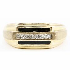 10k Yellow Gold White Round Diamond Black Onyx Band Ring Wedding Step Edge .11ct