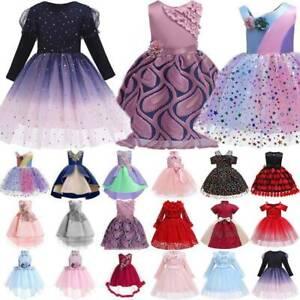 Kids Girls Party Bridesmaid Wedding Princess Dress Ball Gown Flower Tutu Dresses