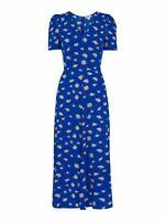 WHISTLES Scattered Daisy Midi Dress Short Sleeve Blue/Multi UK6 RRP159 BNWT