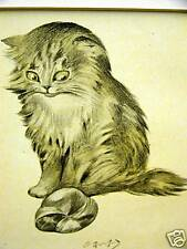 Oliver Herford ANGORA KITTEN & BALL WOOL 1911 Cat Art Matted