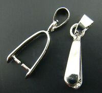 Gift Wholesale Silver Plated Pinch Clip Bail Beads Findings 8x23mm