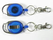 2 X RETRACTABLE KEY RING REEL CHAIN YO YO  CARABINER  & LOBSTER CLIP STEEL WIRE
