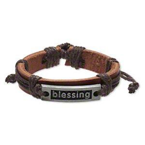 Leather Bracelet BLESSINGS Inspirational Adjustable Slide Knot Wristband