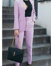 ZARA LILAC  2 PIECE SUIT CO ORD BLAZER JACKET& BELTED TROUSERS SIZE S