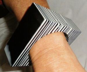 Sobral Retired Huge Pop Art Quadrada Black & White Square Bracelet Brazil Import