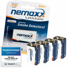 4x NEMAXX 9V Block POWER PLUS 1200 mAh Lithium Batterie - 10 Jahre Lebensdauer