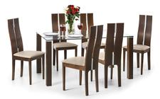 Julian Bowen Cayman Dining Table Only Glass & Solid Beech in Walnut 150cm