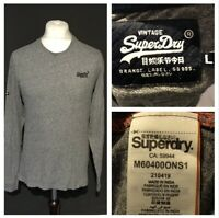 Superdry Men's T Shirt Large Grey Long Sleeve 100% Cotton