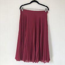 Next Women Skirt Size 10 Pink Fuchsia Pleat Midi - Long Lined