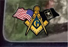 "ProSticker 090 (One) 3"" x 5"" American US Army Flags Masonic Decal Sticker USA"