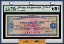 TT ND (1970s) STATE BANK OF INDIA TRAVELLERS CHEQUE 100 RUPEES SPECIMEN PMG 66Q!