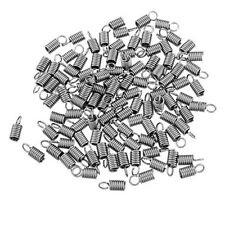 100PCs Stainless Steel Spring Beading Tips Necklace Silver Tone End Caps