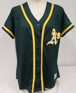 Brand New Majestic Women's MLB Oaklands Athletics Coolbase Button Up Jersey
