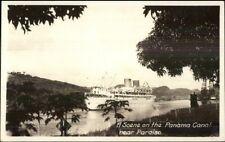Steamship - Panama Canal - Paraiso Real Photo Postcard