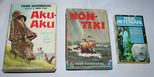 lot 3 Thor Heyedahl books - Kon Tiki (HB) Aku-Aku (HB) The Maldive Mystery (PB)