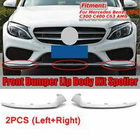 For Mercedes W205 C-Class 2015-2017 Pair Front Lower Bumper Chrome Trim Molding