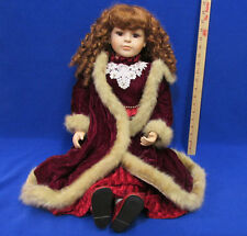 "Vintage 28"" Porcelain Doll Collectors Choice By DanDee Velveteen Dress & Coat"