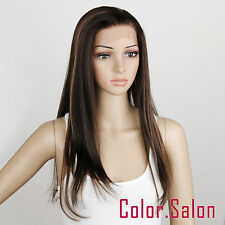 HAND TIED Synthetic Hair LACE FRONT FULL WIGS GLUELESS Dark Brown/Blonde 96#4F27
