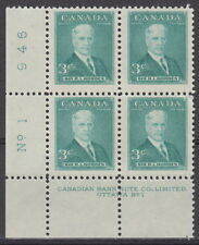 CANADA #303 3¢ Prime Ministers Sir Robert Borden LL Plate #1 Block MNH