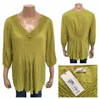 PER UNA Chartreuse Modal Jersey Top Embroidery Neck 3/4 Sleeve Size 16 UK NEW