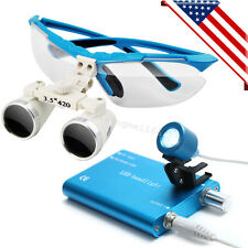 *USA* Blue Dental Surgical Binocular Loupes 3.5X 420mm with LED Head Light Lamp
