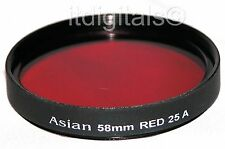 62mm Red Color Glass Lens Filter #25 B&W Film Digital 25A 25-A New 62 mm