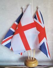 ST GEORGE AND UNION JACK TABLE FLAG SET 3 flags with 3 hole wooden base