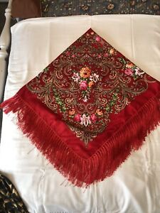 Red Russian Style Piano Shawl, Floral Fringed