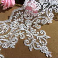 Bridal Dress Lace Trim Corded Wedding Floral Edging Embroidered Gown Ribbon 1 Y