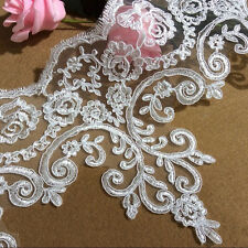 Bridal Lace Trimming Wedding Floral Ivory Edging Embroidered Trim Ribbon 1 Yard
