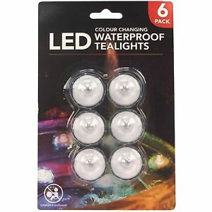 6 x Waterproof LED Tea Lights Colour Changing Decoration Wedding Home Candles