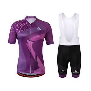 Purple Womens Cycling Clothing Short Kit Reflective Jersey and (Bib) Shorts Set