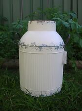 LARGE DISTRESSED CREAM TIN METAL COUNTRY MILK CAN