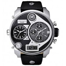 NEW*MENS DIESEL DIGITAL BIG DADDY BLACK XL CHRONO TIME ZONE DZ7125 WATCH RRP£309