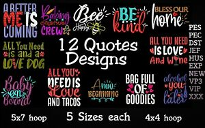 MACHINE EMBROIDERY DESIGNS - 12 QUOTES EMBROIDERY DESIGNS - PES DST JEF FORMATS
