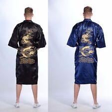 Mens SILK Robe Kimono Gown Black Blue Dragon Yukata Hakma Qipao Vintage