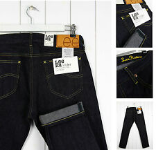 NEW  LEE 101 RIDER 12oz JEANS DRY/RAW SELVAGE DENIM TAPERED SLIM  FIT_ ALL SIZES