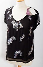Monsoon black sheer organza sequin and bead party top NEW