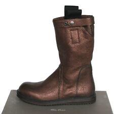RICK OWENS $1,680 dark metallic bronze creeper sole biker boots 41-IT/8-US NEW