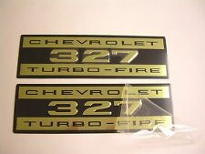 1962-1966 Chevy Impala Belair Biscayne 327 Valve Cover Decal Aluminum Pair