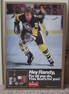 VINTAGE 1980-81 PITTSBURGH PENGUINS POSTER RANDY CARLYLE BUDWEISER BEER