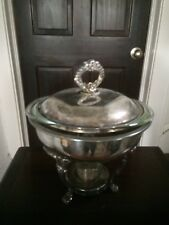 Vintage! Sterno Claw Footed Silver Plate Pyrex Chafing Warmer Dish , tarnished
