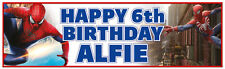 "2 Personalised 36"" X 11"" Spiderman Birthday Banners Blue"