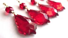 10 Red 38mm French Cut Chandelier Crystals Suncatchers Pendant