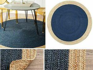 Jute Rug Hand Braided Round 100% Natural Jute Floor Mat Home Decor Area Rag Rugs