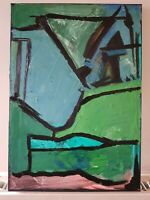 Original Painting Abstract Expressionist Modern Art Canvas Green Landscape Hills